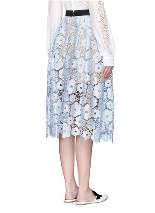 Back View - Click To Enlarge - self-portrait - 'Flower Garden' guipure lace midi skirt