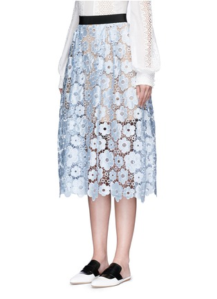 Front View - Click To Enlarge - self-portrait - 'Flower Garden' guipure lace midi skirt
