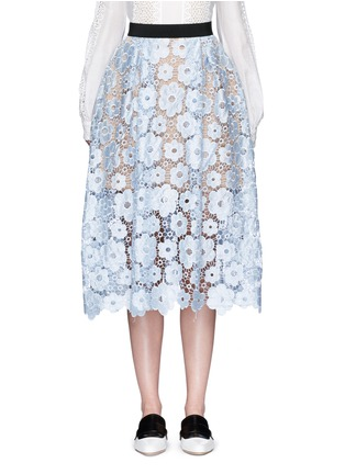 Main View - Click To Enlarge - self-portrait - 'Flower Garden' guipure lace midi skirt