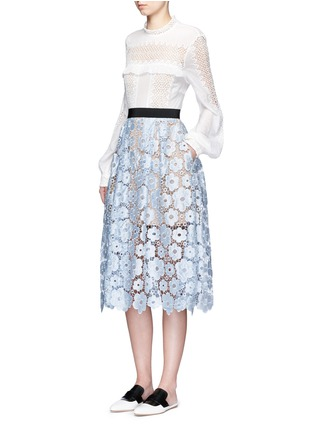 Figure View - Click To Enlarge - self-portrait - 'Flower Garden' guipure lace midi skirt