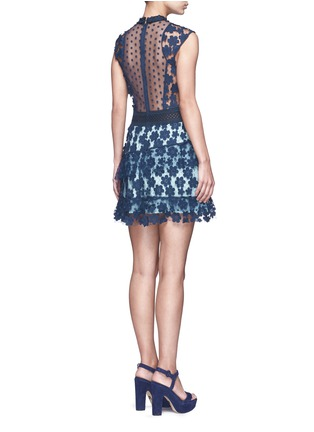 Back View - Click To Enlarge - self-portrait - '60's Overlay' floral lace tiered dress