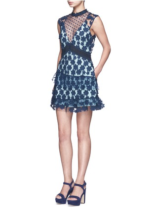 Figure View - Click To Enlarge - self-portrait - '60's Overlay' floral lace tiered dress
