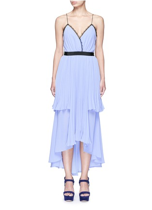 Main View - Click To Enlarge - self-portrait - 'Bella' lace trim pleat chiffon dress
