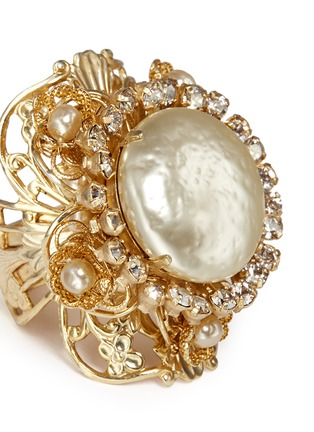 Detail View - Click To Enlarge - Miriam Haskell - Swarovski crystal glass pearl filigree ring