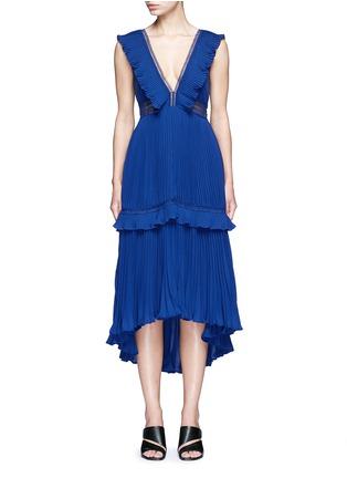 Main View - Click To Enlarge - self-portrait - 'Calla' V-neck plissé pleat flounced dress