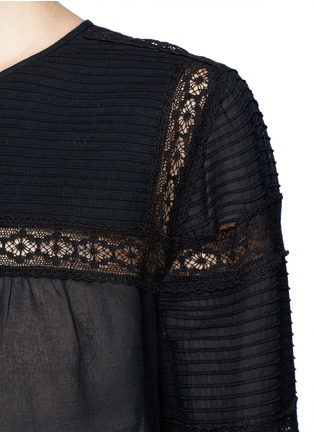 Detail View - Click To Enlarge - Isabel Marant Étoile - 'Rexton' lace insert sheer poplin top