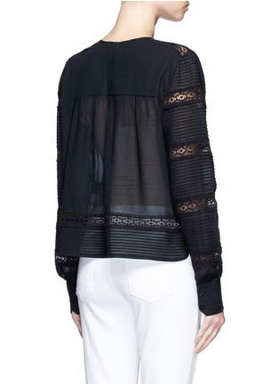 Back View - Click To Enlarge - Isabel Marant Étoile - 'Rexton' lace insert sheer poplin top