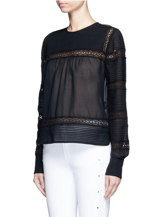 Front View - Click To Enlarge - Isabel Marant Étoile - 'Rexton' lace insert sheer poplin top