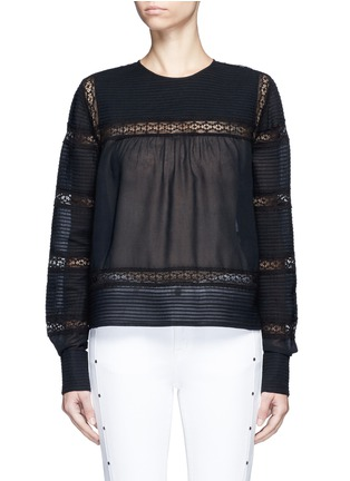 Main View - Click To Enlarge - Isabel Marant Étoile - 'Rexton' lace insert sheer poplin top