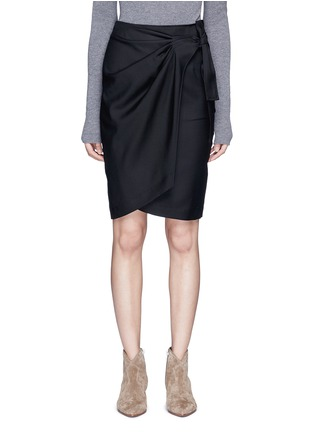 Main View - Click To Enlarge - Isabel Marant Étoile - 'Natacha' tie side virgin wool wrap skirt