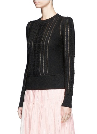 Front View - Click To Enlarge - Isabel Marant Étoile - 'Kalyn' cotton-wool cable knit sweater
