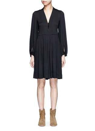 Main View - Click To Enlarge - Isabel Marant Étoile - 'Neil' rouleau loop V-neck dress