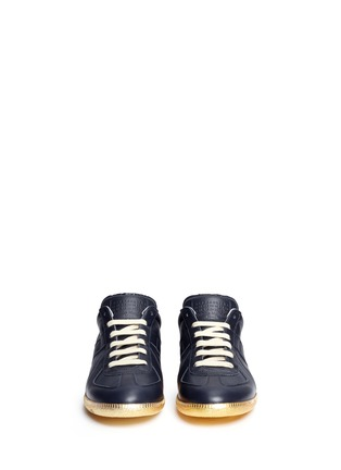 Front View - Click To Enlarge - Maison Margiela - 'Replica' metallic sole leather sneakers