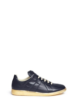 Main View - Click To Enlarge - Maison Margiela - 'Replica' metallic sole leather sneakers