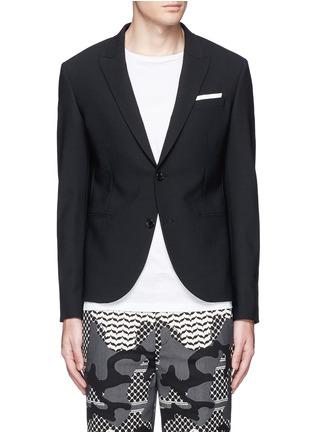 Main View - Click To Enlarge - Neil Barrett - Peak lapel stretch gabardine skinny fit blazer