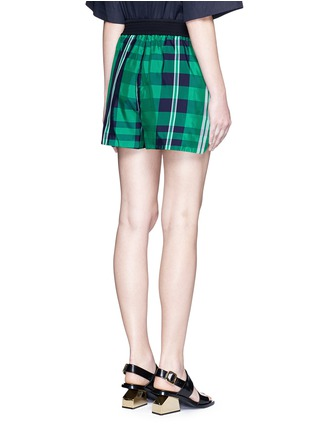 Back View - Click To Enlarge - Stella McCartney - 'Kristelle' mix check print patchwork jogging shorts