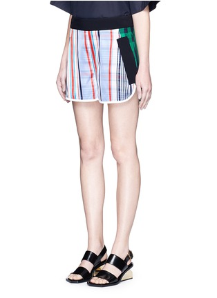Front View - Click To Enlarge - STELLA MCCARTNEY - 'Kristelle' mix check print patchwork jogging shorts