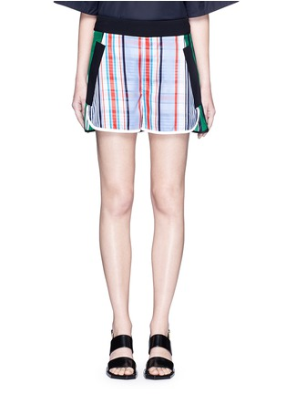 Main View - Click To Enlarge - STELLA MCCARTNEY - 'Kristelle' mix check print patchwork jogging shorts