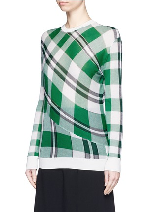 Front View - Click To Enlarge - Stella McCartney - Solid check cotton knit sweater