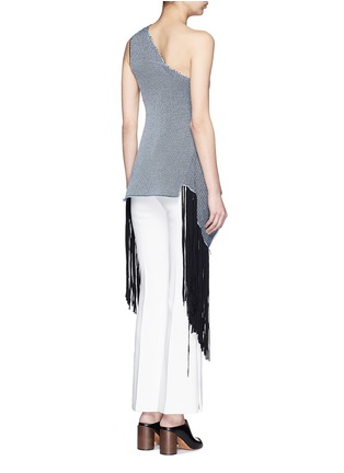 Back View - Click To Enlarge - STELLA MCCARTNEY - One-shoulder knit fringe top