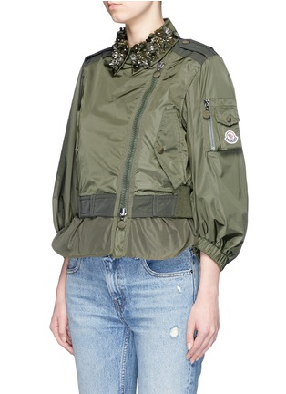 Front View - Click To Enlarge - Moncler - 'Gereba' floral embellishment asymmetric zip jacket