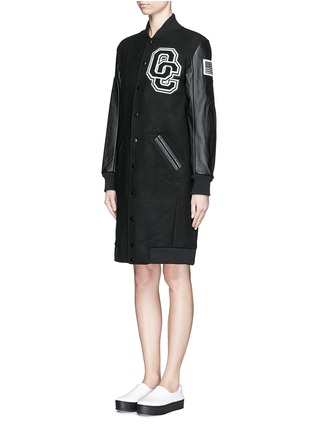 Front View - Click To Enlarge - Opening Ceremony - 'OC' leather sleeve varsity long jacket