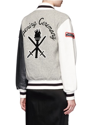 Back View - Click To Enlarge - OPENING CEREMONY - OC' leather sleeve classic varsity jacket