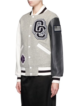 Front View - Click To Enlarge - OPENING CEREMONY - OC' leather sleeve classic varsity jacket