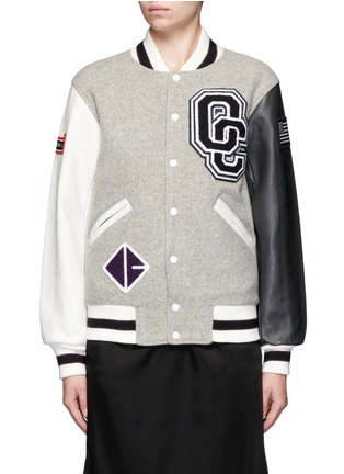 Main View - Click To Enlarge - OPENING CEREMONY - OC' leather sleeve classic varsity jacket