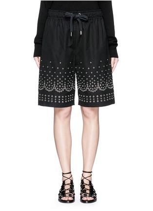 Main View - Click To Enlarge - Alexander Wang  - Metal eyelet cotton-linen board shorts