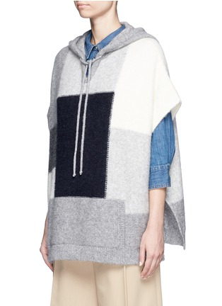 Front View - Click To Enlarge - CLOSED - Patchwork alpaca blend knit poncho