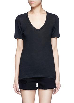 Main View - Click To Enlarge - Isabel Marant Étoile - 'Kranger' V-neck linen T-shirt