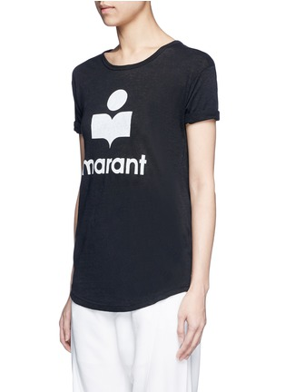 Front View - Click To Enlarge - Isabel Marant Étoile - 'Koldi Marant' logo print linen T-shirt