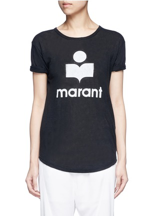 Main View - Click To Enlarge - ISABEL MARANT ÉTOILE - 'Koldi Marant' logo print linen T-shirt