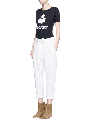Figure View - Click To Enlarge - Isabel Marant Étoile - 'Koldi Marant' logo print linen T-shirt