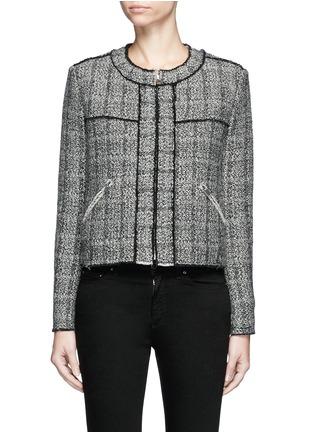 Main View - Click To Enlarge - Isabel Marant Étoile - 'Laura' stripe frayed edge tweed jacket