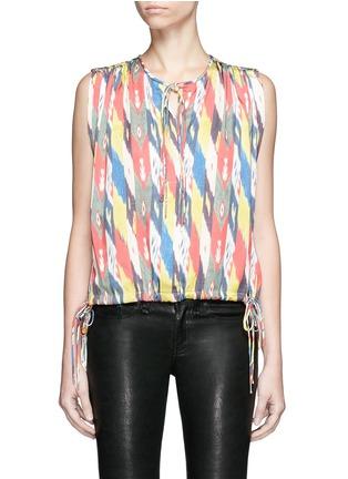 Main View - Click To Enlarge - Isabel Marant Étoile - 'Hervey' rainbow tribal print drawstring blouse