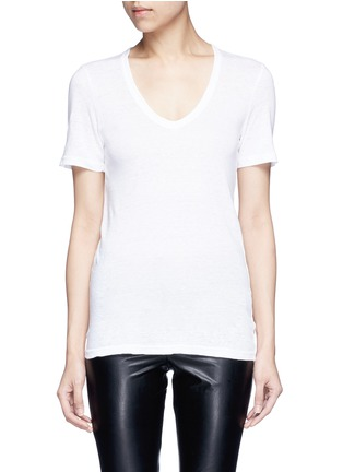 Main View - Click To Enlarge - Isabel Marant Étoile - 'Kranger' V-neck linen T-shirt