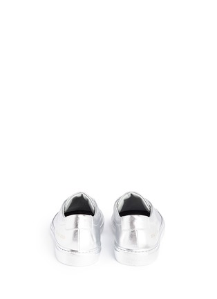 Back View - Click To Enlarge - COMMON PROJECTS - 'Original Achilles' metallic leather sneakers