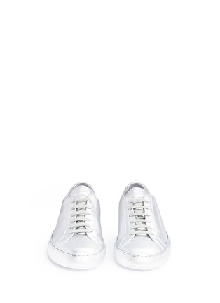 Front View - Click To Enlarge - COMMON PROJECTS - 'Original Achilles' metallic leather sneakers