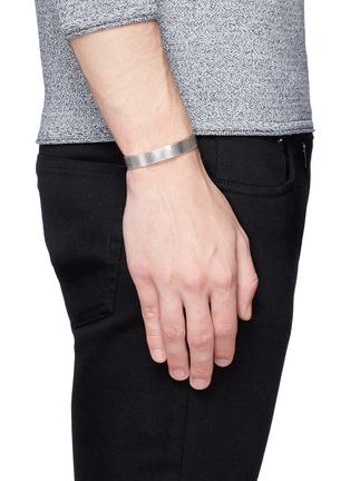 Figure View - Click To Enlarge - Le Gramme - 'Guilloché Le 33 Grammes' stud sterling silver cuff