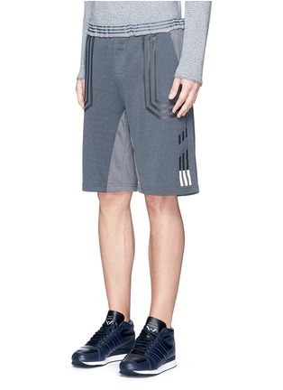 Front View - Click To Enlarge - Adidas By White Mountaineering - Patchwork sweat shorts