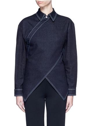Main View - Click To Enlarge - Stella McCartney - 'Irene' asymmetric wrap front denim shirt