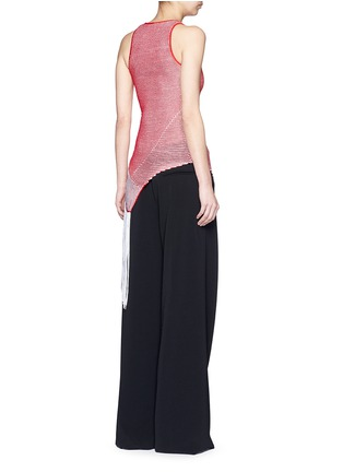 Back View - Click To Enlarge - Stella McCartney - Asymmetric distressed mesh knit fringe top