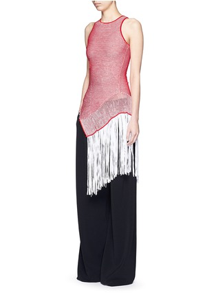 Figure View - Click To Enlarge - Stella McCartney - Asymmetric distressed mesh knit fringe top