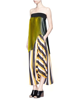 Figure View - Click To Enlarge - Stella McCartney - 'Darmouth' contrast stripe asymmetric cropped pants