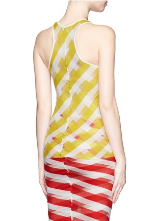 Back View - Click To Enlarge - STELLA MCCARTNEY - 'Transparent Checks' crisscross stripe racerback top