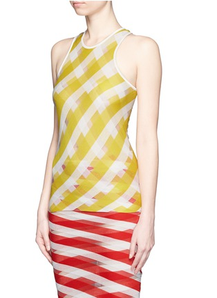 Front View - Click To Enlarge - STELLA MCCARTNEY - 'Transparent Checks' crisscross stripe racerback top