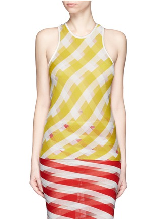 Main View - Click To Enlarge - STELLA MCCARTNEY - 'Transparent Checks' crisscross stripe racerback top