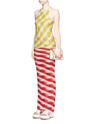 Figure View - Click To Enlarge - STELLA MCCARTNEY - 'Transparent Checks' crisscross stripe racerback top